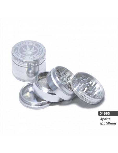 Młynek grinder 420 LEAF Aluminiowy 4 częściowy magnetyczny 50mm
