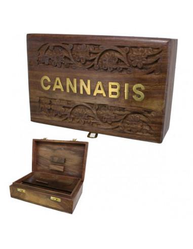 ROLL BOX CANNABIS pudełko drewniane na jointy i bibułki