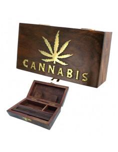 Obraz produktu: roll box cannabis liść pudełko drewniane na jointy i bibułki