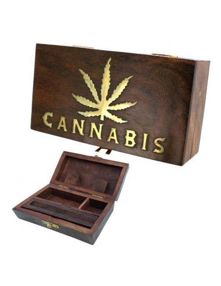 ROLL BOX CANNABIS LIŚĆ pudełko drewniane na jointy i bibułki