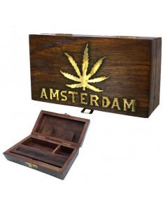 ROLL BOX AMSTERDAM LIŚĆ pudełko drewniane na jointy i bibułki