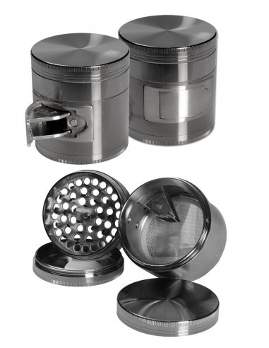 4-piece aluminum grinder with dispenser 63mm SPACE GRAY