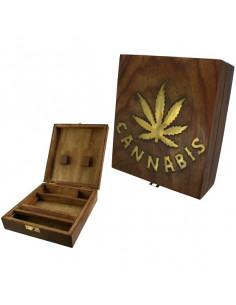 Obraz produktu: roll box cannabis square pudełko drewniane na jointy i bibułki