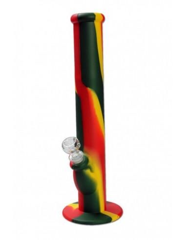 Silikonowe bongo RASTA z szklanym cybuchem fajka wodna nietłukąca