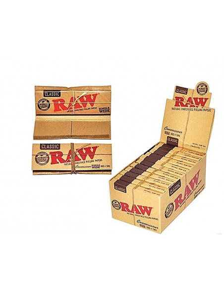 RAW Connoisseur SINGLE WIDE bibułki z filterkami