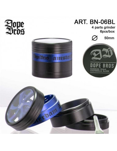DOPE BROS AMSTERDAM BLUE GRINDER 50mm 4 cz. młynek z sitkiem na pyłek