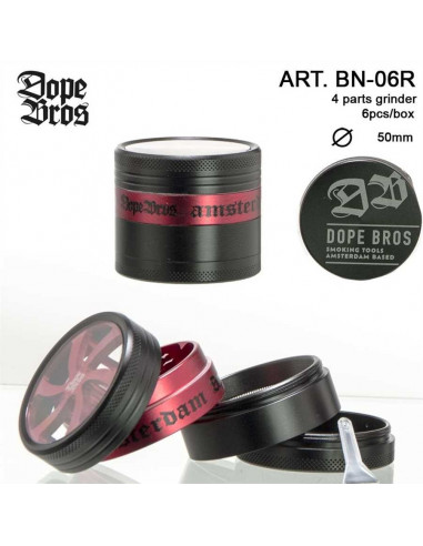 DOPE BROS AMSTERDAM RED GRINDER 50mm 4 cz. młynek z sitkiem na pyłek