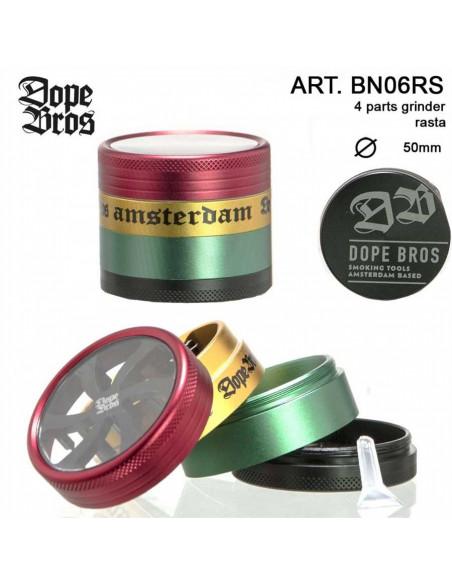 DOPE BROS AMSTERDAM RASTA GRINDER 50mm 4 cz. młynek z sitkiem na pyłek