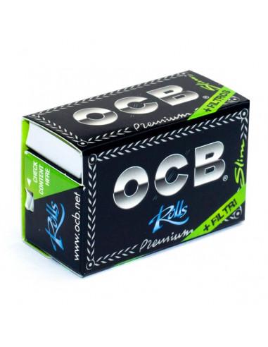 OCB BLACK PREMIUM ROLLS with filters Slim white tissue paper 4 meters