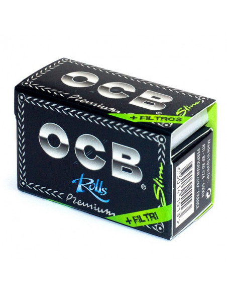OCB BLACK PREMIUM ROLLS z filterkami Bibułki Slim białe 4 metry