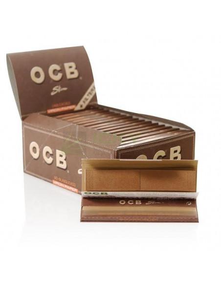 Bibułki z filtrami OCB Virgin Slim brązowe bezchlorowe
