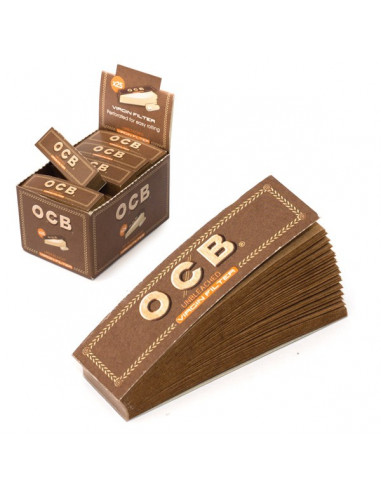 OCB Virgin Brown Tips Filterki perforowane niechlorowane kartonowe 50 sztuk