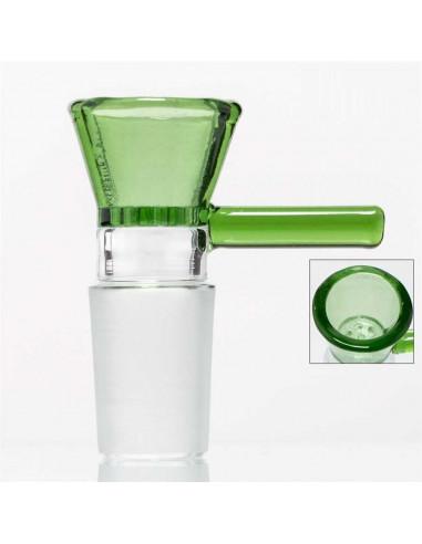 GG bowl Cybuch szklany GREEN 18.8mm z uchwytem i z zintegrowanym sitkiem