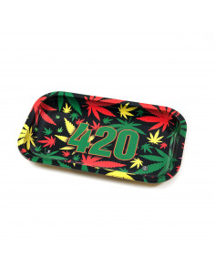 V-SYNDICATE 420 RASTA tacka do zwijania jointów duża rolling tray metalowa Large