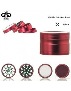 GRACE GLASS LIGHTNING 60mm 4 częściowy młynek grinder z sitkiem RED
