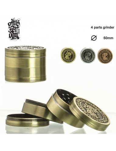 AMSTERDAM METAL młynek grinder 50mm kraszer 4 cz. z sitkiem i łopatką