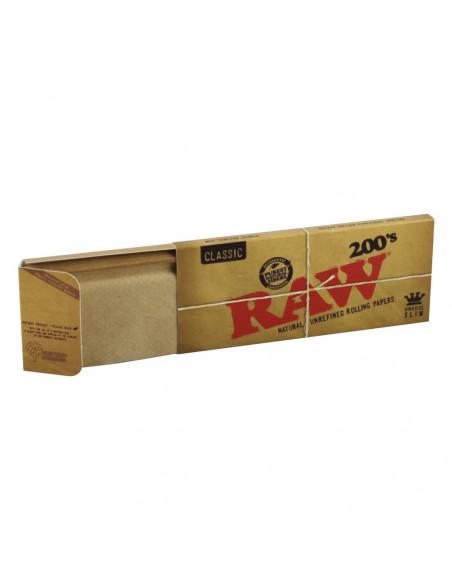 Bibułki RAW BOX 200 King size slim brązowe unbleached bletki jointy