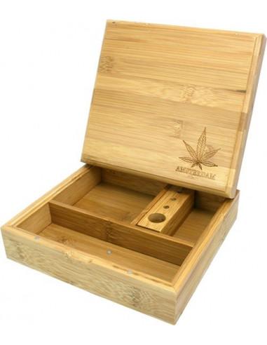 BAMBOO ROLLING BOX LEAF pudełko bambusowe na jointy i bibułki schowek