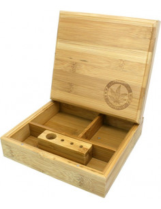 BAMBOO ROLLING BOX HEMP  pudełko bambusowe na jointy i bibułki schowek