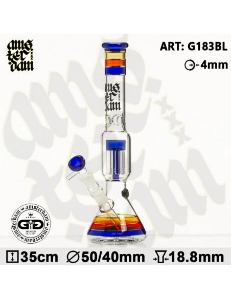 Bongo AMSTERDAM XXX Blue Gold 35cm 6x dyfuzor 18.8mm fajka wodna