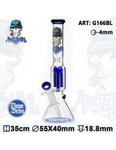 Bongo Dope Bros X Amsterdam BLUE Skull 35cm 6x dyfuzor 18.8mm fajka