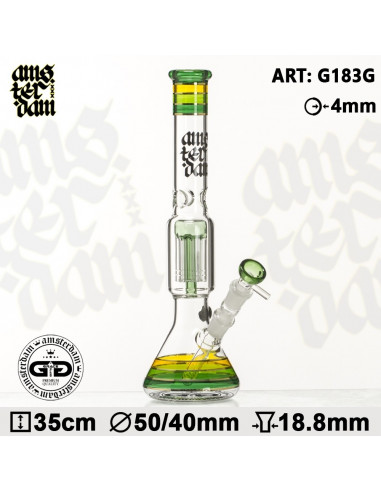 Bongo AMSTERDAM XXX GREEN OG Gold 35cm 6x dyfuzor 18.8mm fajka wodna
