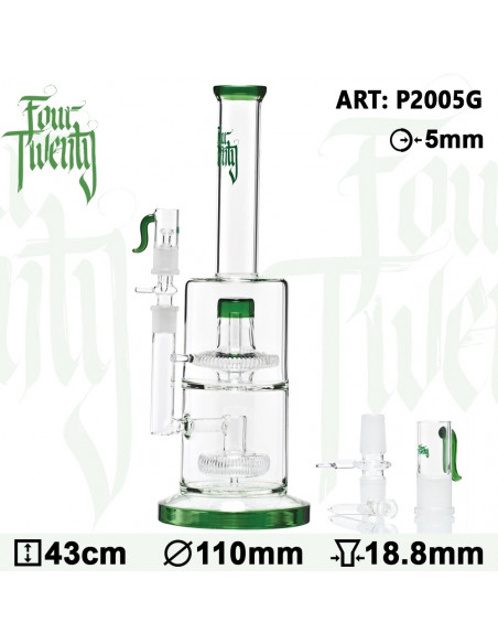 FOURTWENTY SCIENTIFIC Double Ufo Percolator Bongo 43CM fajka wodna