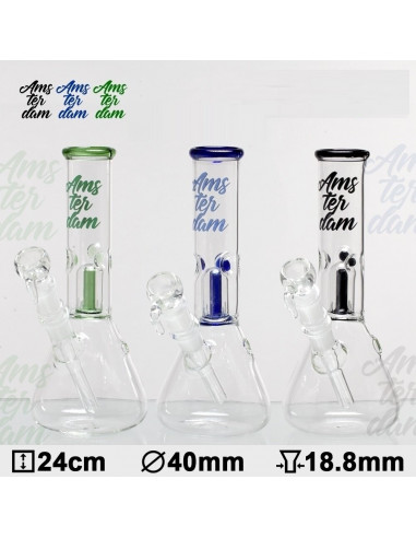 Bongo Glass Amsterdam z perkolatorem wys. 24 cm szlif 18.8 mm