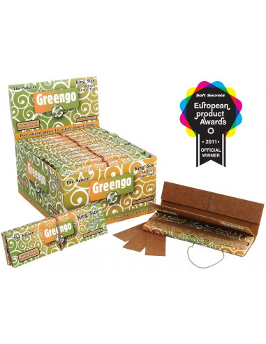 GREENGO King Size Slim Unbleached - Brown tissue papers with filters 34 pcs.