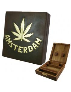 Wooden Rolling Box Amsterdam pudełko drewniane na akcesoria do palenia