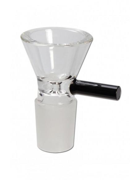 Szklany cybuch z rączką do bonga o szlifie 18.8 mm