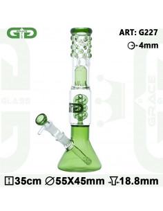 GG BEAKER BONG GREEN Spiralny Dyfuzor Grace glass 35 cm icebong