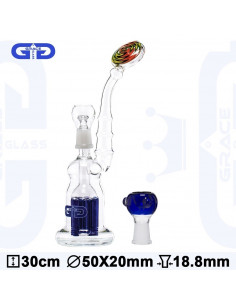 Obraz produktu: bongo grace glass bubbler blue z 6-cio ramiennym perkolatorem wys. 30 cm szlif 18.8
