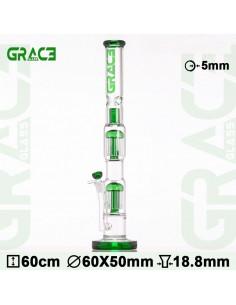 Duże bongo Grace Glass Haze Maze z 2 perkolatorami wys. 60 cm szlif 18.8