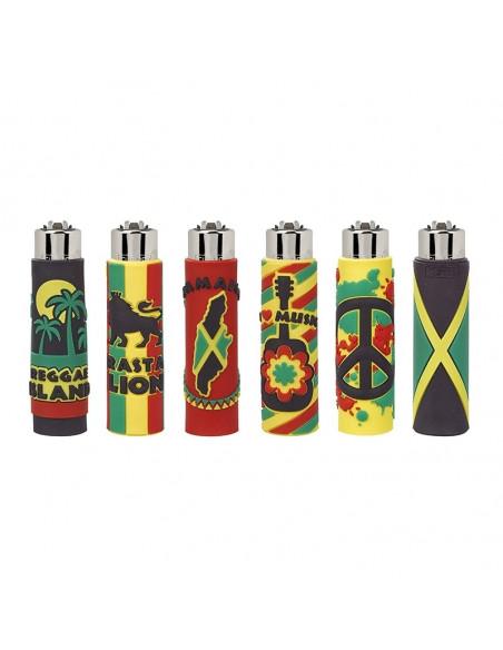 Zapalniczka Clipper Funky wzór JAMAICA w gumowej osłonce