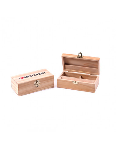 Drewniane pudełko I love Amsterdam MEDIUM