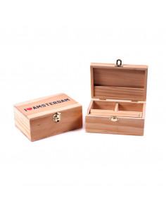 Drewniane pudełko I love Amsterdam LARGE