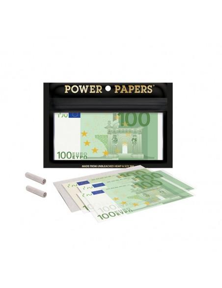 Bibułki z nadrukiem 100 euro+ filterki 12 szt. w opakowaniu