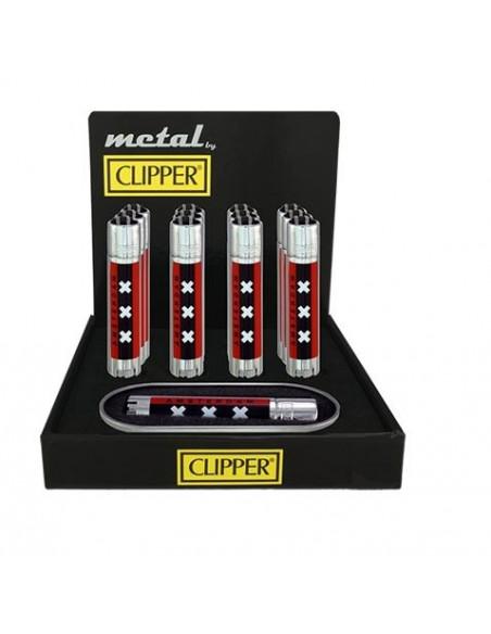 Metalowa zapalniczka Clipper Silver AMSTERDAM XXX