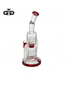 Bongo Grace Glass Doubble Boubble Red z 2 perkolatorami wys. 26 cm