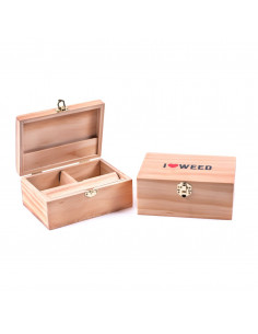 Drewniane pudełko Roll Box I love weed LARGE