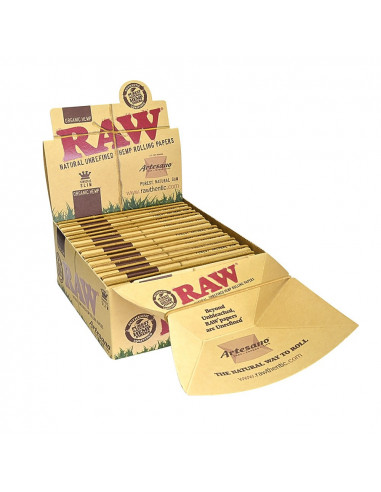 RAW ORGANIC ARTESANO King Size Slim tissue papers with filters and BOX tray 15 pcs.