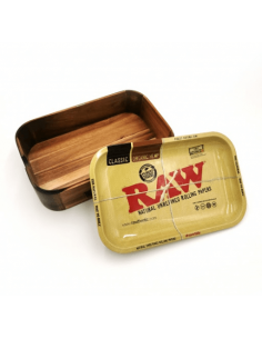 RAW Wooden Cache Box 2 in 1 bamboo storage box with tray