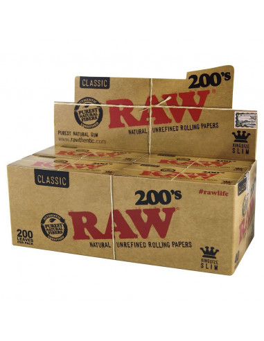 RAW Classic 200's King Size Slim brown tissue papers Whole Box 40 pcs