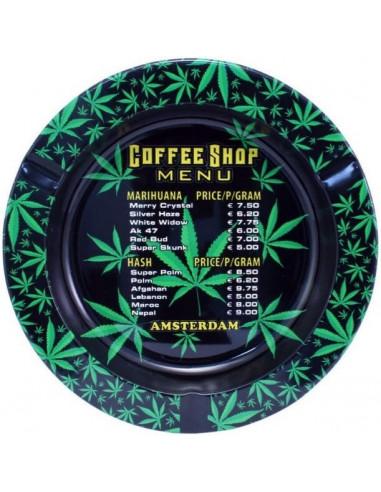 Metal ashtray AMSTERDAM COFFEESHOP MENU
