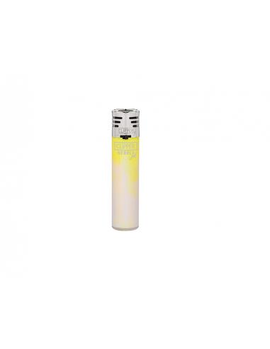 Clipper lighter, pattern WHITE NEBULA Jet, yellow
