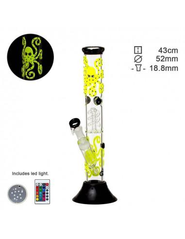 Bongo Grace Glass Octopoda Yellow Glow, height 43 cm, cut 18.8 mm, with LED shining