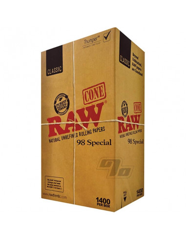 RAW Pre-Rolled Cone 98 Special - ready-made twisted tissue papers + filters 1400 pcs.