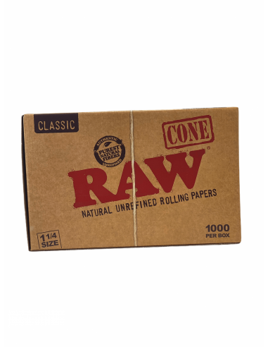 RAW Pre-Rolled Cone 1 1/4 - Ready twisted tissue papers + filters WHOLE PACK 1000 pcs.