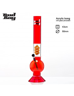 Bongo akrylowe Bud Boy ze szklanym spiralnym dyfuzorem wys. 43 cm